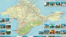 Карта Крыма с поселками. Достопримечательности на карте Крыма
