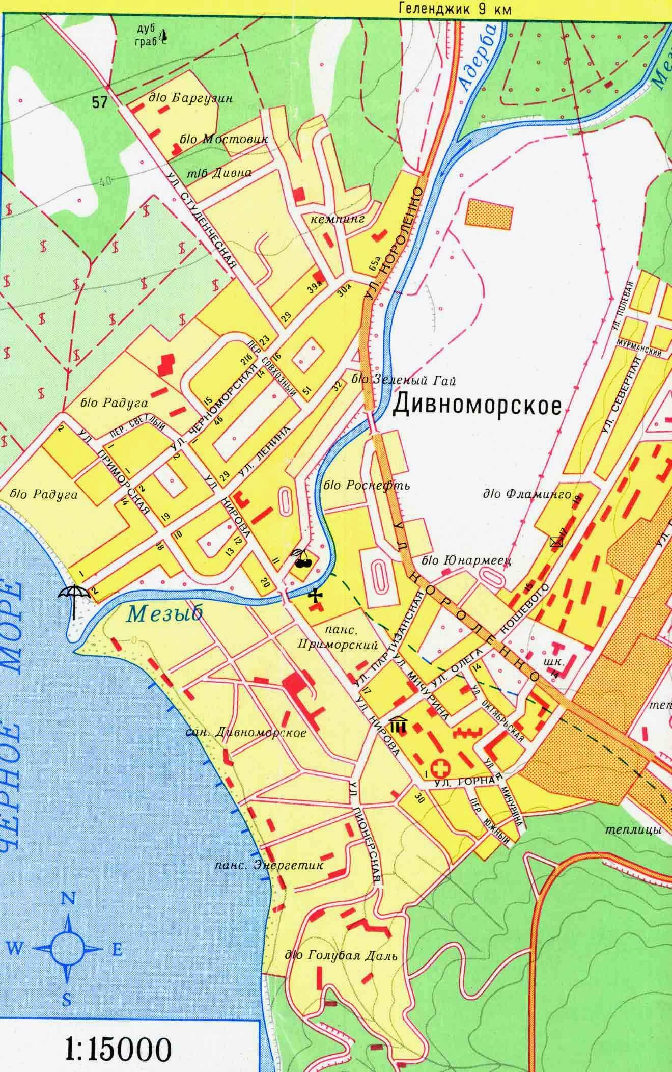 Карта Дивноморского — подробная карта отелей