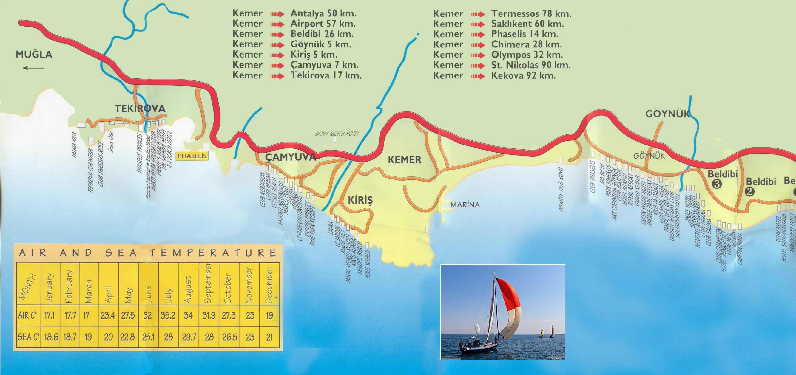 Карта пригорода кемера