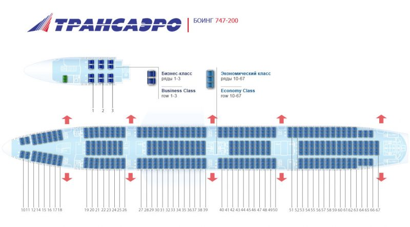 Схема боинга 747-400 трансаэро на 400 мест