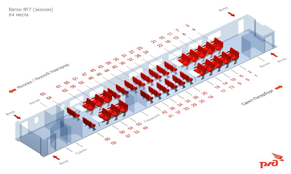 Схема вагонов 3с класса