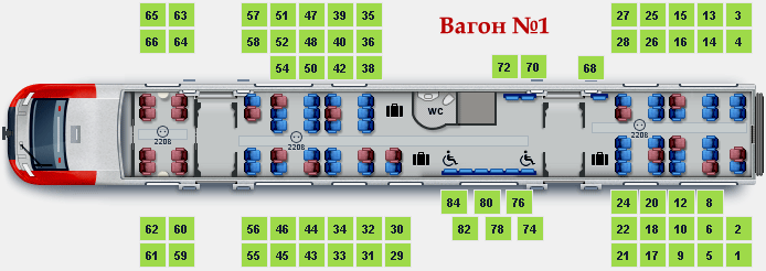 Схема мест первого вагона